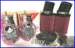 Banshee 28mm GENUINE Keihin PWK Carbs Carburetors K&N Pod Style Air Filters Set