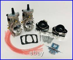 Banshee 34mm 34 Mil PWK Style Carbs Carb Carburetors Billet Intake Manifolds Set