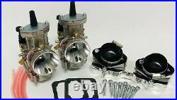 Banshee 38mm 38 Mil PWK Style Carbs Carb Carburetors Billet Intake Manifolds Set