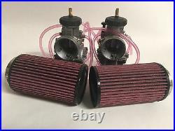 Banshee Keihin 35mm 35 PWK Carbs Carb Carburetor Set K&N Style Air Filters Pair