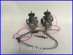 Keihin PWK 39 Carbs Carburetors Pair Set & Terry Steel Throttle Cable Banshee